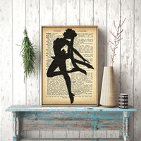 Instant download, Sailor Moon Dictionary Art Printable Design Poster Movie Vintage Book