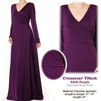 Crossover VNeck Jersey Fashion Abaya Long Sleeves Maxi Dress Size S/M - 4600 Purple