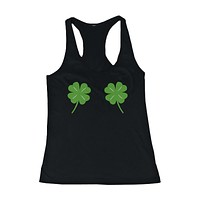 Four Leaf Clovers Women's Tank Top St Patricks Day Tanks Cute Tanktop