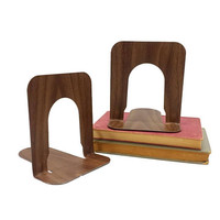 Industrial Metal Bookends Vintage School Library Retro Office Mid Century Mad Men Style 1960s Decor Faux Wood Grain