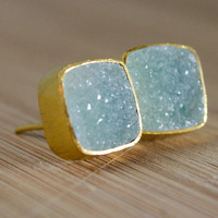 BOXING DAY SALE Gold Turquoise Druzy Stud Earrings - Gemstone Posts - Ice Blue