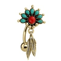 BodyJ4You Belly Button Ring Reverse Tribal Dangle Red Green Stone Gold Steel 14G Piercing Jewelry