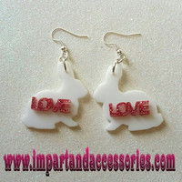 LOVE BUNNY-White Bunny Laser Cut Acrylic Earrings with Pink Glitter Love