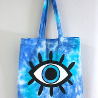 Ocean Blue Eye Tie Dye Tote Bag