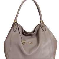 Portese-Taupe Leather Hobo Handbag