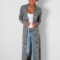 Rina Grey Marl Maxi Knit Cardigan | Pink Boutique