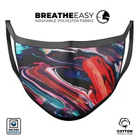 Blurred Abstract Flow V55 - Made in USA Mouth Cover Unisex Anti-Dust Cotton Blend Reusable & Washable Face Mask with Adjustable Sizing for Adult or Child