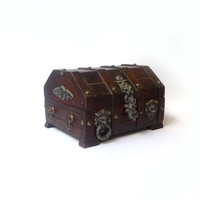 Vintage mid century pirate treasure chest trinket box