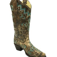 Corral Bronze-Turquoise Embroidery & Stud Boots