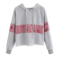 Cropped Hoodie with Velvet Stripe