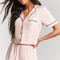 Button-Front Pajama Top & Shorts Set