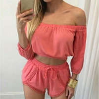 Chic Lace Up Solid Shorts Crop Top Blouse 2 pieces Set White/Watermelon Red S/M/L/XL