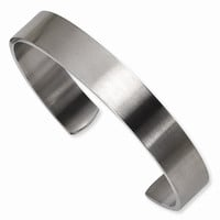 Men's Stainless Steel Brushed Cuff Bangle - Engravable Personalized Gift Item