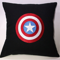 Avengers Captain America inspired Embroidered Pillow Case Cover