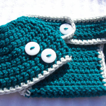 Dark Teal and Grey Super Soft Crochet Baby Boy Diaper Cover and Hat Set - Photography Prop