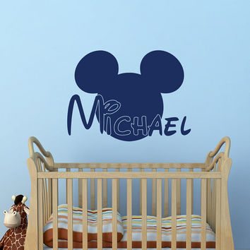 Boy Name Wall Decal- Mickey Mouse Ears Wall Decals Personalized Name Stickers Baby Kids Boys Room Decor Nursery Wall Art Home Interior M053