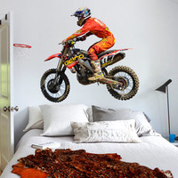 Full Color Wall Decal Sticker Dirt Bike Moto Motorcycle Motocross Biker mcol54