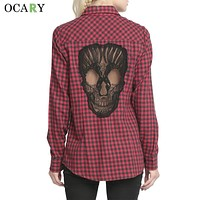 Skull Hollow Out Women Blouses Plaid Shirts Long Sleeve Blouse Spring Summer Blusas Mujer Haut Ete Plus Size XXXXL Chemise Red