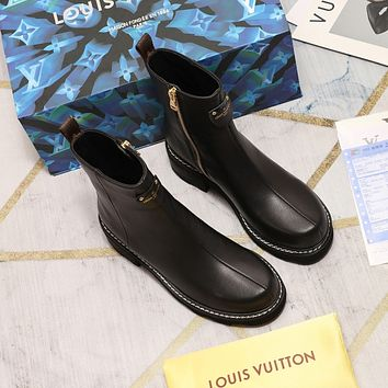 lv louis vuitton trending womens men leather side zip lace up ankle boots shoes high boots 137