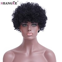 SHANGKE Hair Short Black Curly Wigs For Black Women Heat Resistant Synthetic Wig For Women African American Women's Hair Wigs