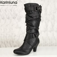 Karinluna 2018 large Size 34-43 dropship fashion slip on mid-calf boots Woman Shoes Fall winter high heels women's shoes Boots