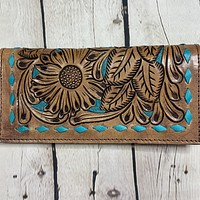 Dark Tooled Leather Wallet w/ Turquoise Stitching