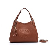 """GUCCI"" new fashion female casual lychee embossed versatile messenger bag Brown"