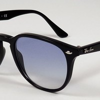 NEW RAY BAN HIGHSTREET BLACK LIGHT BLUE ROUNDED SQUARE SUNGLASSES RB4259 601/19