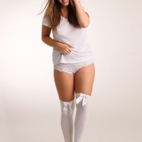 Plus Size Lingerie | Plus Size Hosiery | Over The Knee Stocking with Bow | Hips & Curves