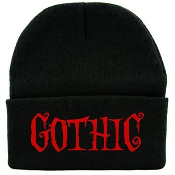 Red Gothic Horror Cuff Beanie Knit Cap Halloween Deathrock Occult Alternative Clothing