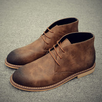Winter Men Chelsea Boots British Cow Suede Ankle Boots Retro Martin Boots