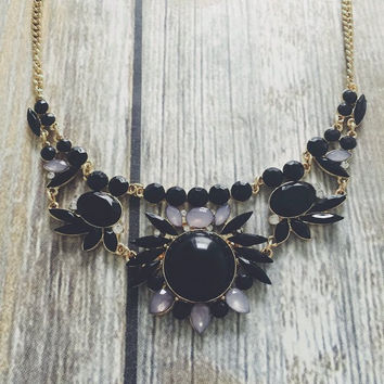 Gina Black Statement Necklace And Earring Set