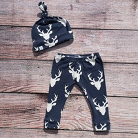 Baby/Toddler top knot beanie with matching leggings! Made from soft, stretchy, knit fabric. Navy blue deer head print.