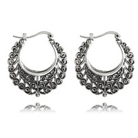 Large Black Patina Filigree Hoop Earrings