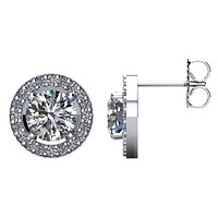 Certified 2 1/2 CTW Diamond Halo-Styled Stud Earrings in 14kt White Gold