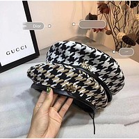 Dior Winter Retro Classic Multicolor Tartan Letter Logo Beret Cap Temperament Women Hat Painter Cap