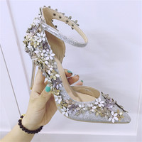 elegant flower women pumps fashion ladies pointed toe thin heel sandals summer style high heels women silver wedding party shoes