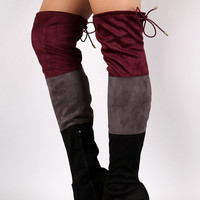 "Suede Tri-color Over-The-Knee Chunky Heel Boots Thigh High Boots Heel Height: 4"" Shaft Length: 24"" (including heel) Top Opening Circumference: 15.25"" Olive & Bordeaux & Black"