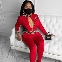 VERSACE Women Casual Round Collar Top Pants Set Two-Piece