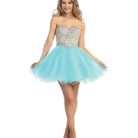 Aqua & Nude Tulle & Beaded Strapless Sweetheart Short Dress Prom 2015