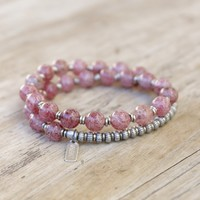 'Love' Strawberry Quartz Mala Bracelet