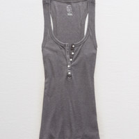 Aerie Real Soft® Ribbed Henley Tank, Smoked Gray