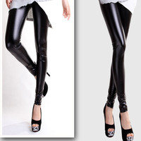 1pcs Fashion Style Wet Look Shiny Faux Leather Women Sexy Leather Pants Free / Drop Shipping