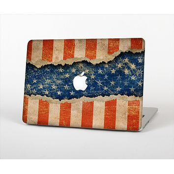 """The Scratched Surface Peeled American Flag Skin Set for the Apple MacBook Pro 15"""""""
