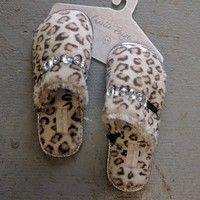 Animal Print Slippers with Jewel Detail