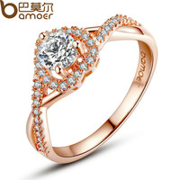 BAMOER Real  Rose Gold Color Heart Shape Ring for Women with Paved Micro AAA CZ Jewelry JIR027