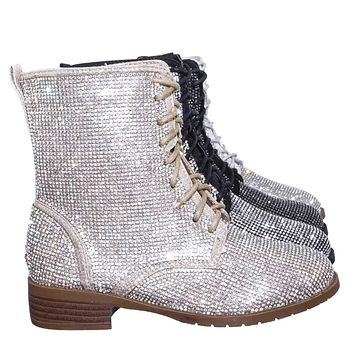 Glisten26K Childrens Rhinestone Embellished Bootie - Girl Lace Up Combat Boots
