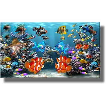 Fish Aquarium Picture on Stretched Canvas Wall Art Décor, Ready to Hang!