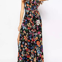 Black Floral Print V-Neck Sleeveless Maxi Dress