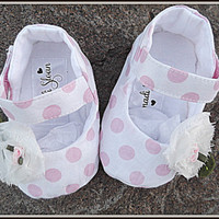 Baby Girl Shoes Shabby Chic Pink Polka Dots Children's Mary Jane Flats Booties